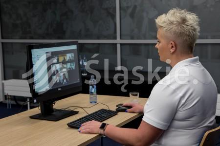 Sport w nowej rzeczywistosci - panel w ramach Europejskiego Kongresu Gospodarczego online. N/z Anita Wlodarczyk - ambasador Stadionu Slaskiego.