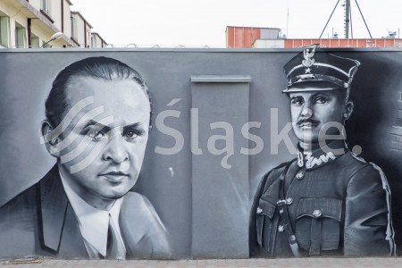 Uroczystosc odsloniecia tablicy pamiatkowej oraz prezentacji muralu dot. III Powstania Sl w Siemanoiwicach Sl.