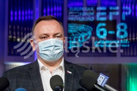 Konferencja prasowa - Europejskie Forum Przyszlosci. N/z marszalek Jakub Chelstowski.